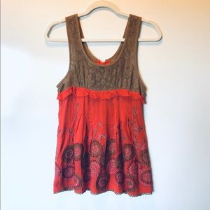 Free People Coral and Taupe Open Back Tank 2